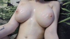 Busty amateur girlfriend titjob with cumshot