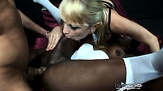 He fucks her black ass while his girl sucks her tits, they share it all