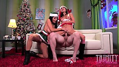 Trinity St Clair and Ava Addams in a holiday threesome riding cock