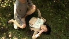 Asian Amateur Gives Outdoor Blowjob