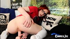 Redhead teen solo anal masturbation with sex toy