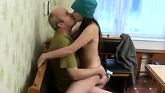 Teen In School Uniform Fucks Old Man