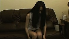 Skinny japanese beauty undresses before feeling her hot body up