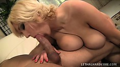This horny blond can ride a cock making her big boobs bounce