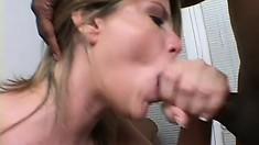 Stacked brunette milf Lisa Sparxxx displays her amazing blowjob and footjob skills