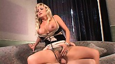 Busty blonde cougar gets her meat to pound her deep and hard