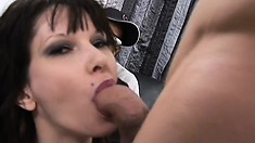 Dirty brunette loves being watched while getting her holes drilled