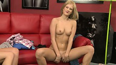 Hot babe Nikita Blonde in a casting scene shows hot body and slick slit