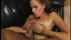 Phat ass blonde goes at it with passion and gets a mouthful of cum
