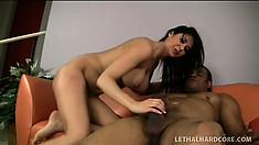 Naughty milf with big boobs Eva Karera has her black personal trainer fucking her twat