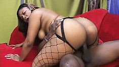 Black bitch pouring out of her fishnets gets banged by a homie