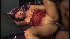 Naughty Asian girl fully enjoys her hot encounter with a big black cock