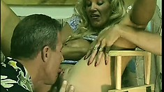 Stacked mature blonde has two young studs taking care of her wild sexual fantasies