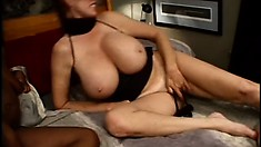 Sexy bitch with enormous boobs is humped by nice hairy fellow