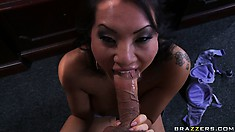 Naughty Asian MILF gets off blowing Dr. Blue's bulging boner