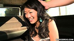 Naughty Oriental babe finally gets naked and gets the full monty Asian delight on the Bang Bus