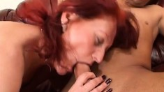 Horny redhead mom rides a stiff cock on her way to satisfy her desires