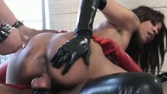 Two kinky ebony girls have lots of fun with sex toys and a black cock
