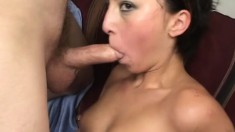 Slim brunette sends her hands and lips getting a shaft ready to fuck
